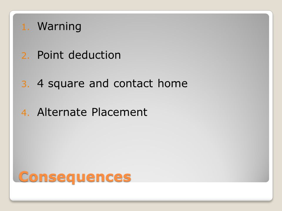 Consequences 1. Warning 2. Point deduction 3. 4 square and contact home 4. Alternate Placement