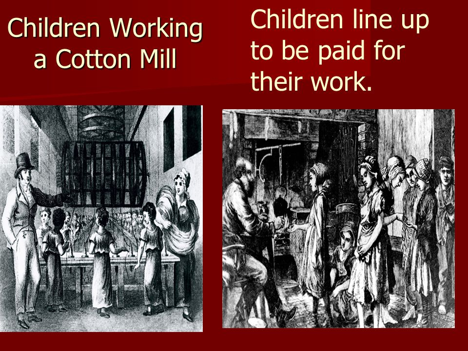 Children Working a Cotton Mill Children line up to be paid for their work.