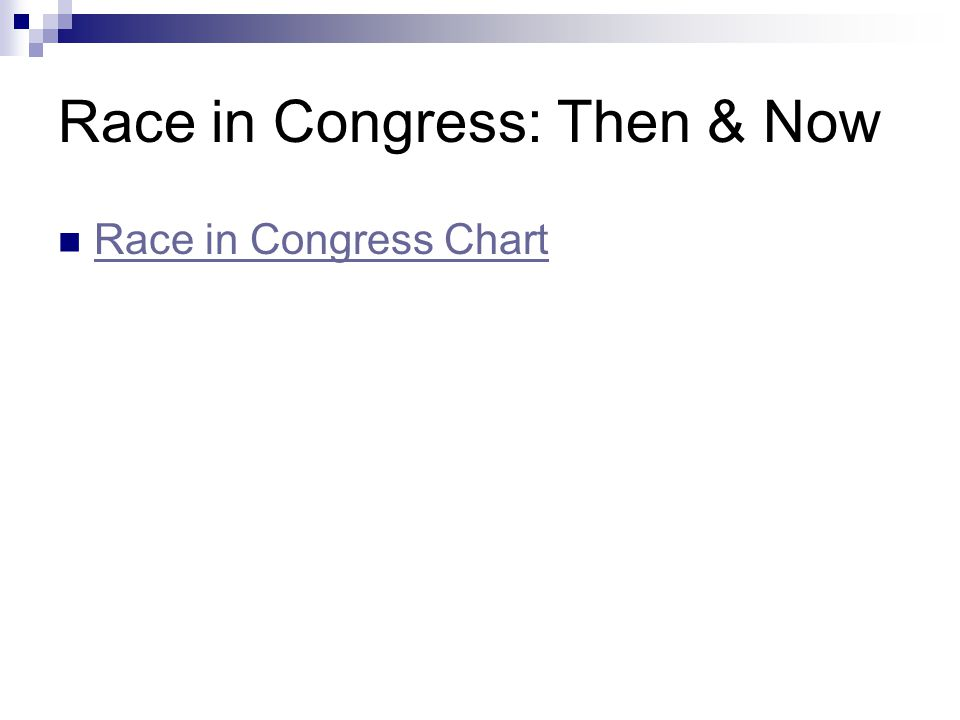 Race in Congress: Then & Now Race in Congress Chart