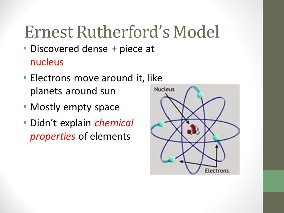 Ernest Rutherford's Model Discovered dense + piece at nucleus Electrons move around it, like planets around sun Mostly empty space Didn't explain chem