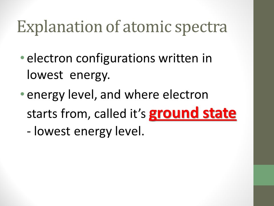 Explanation of atomic spectra electron configurations written in lowest energy. ground state energy level, and where electron starts from, called it's