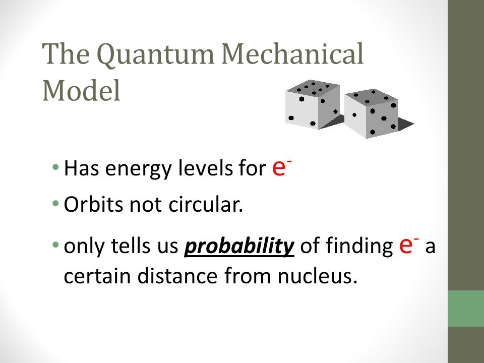 The Quantum Mechanical Model Has energy levels for e - Orbits not circular. only tells us probability of finding e - a certain distance from nucleus.