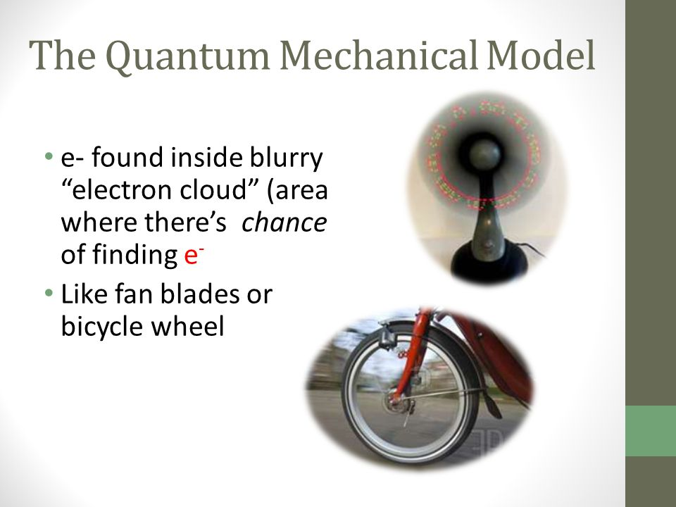 "The Quantum Mechanical Model e- found inside blurry ""electron cloud"" (area where there's chance of finding e - Like fan blades or bicycle wheel"