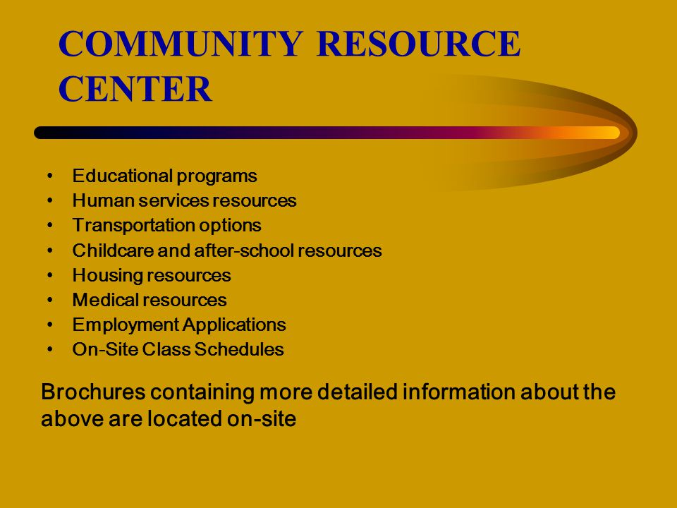 COMMUNITY RESOURCE CENTER Educational programs Human services resources Transportation options Childcare and after-school resources Housing resources Medical resources Employment Applications On-Site Class Schedules Brochures containing more detailed information about the above are located on-site