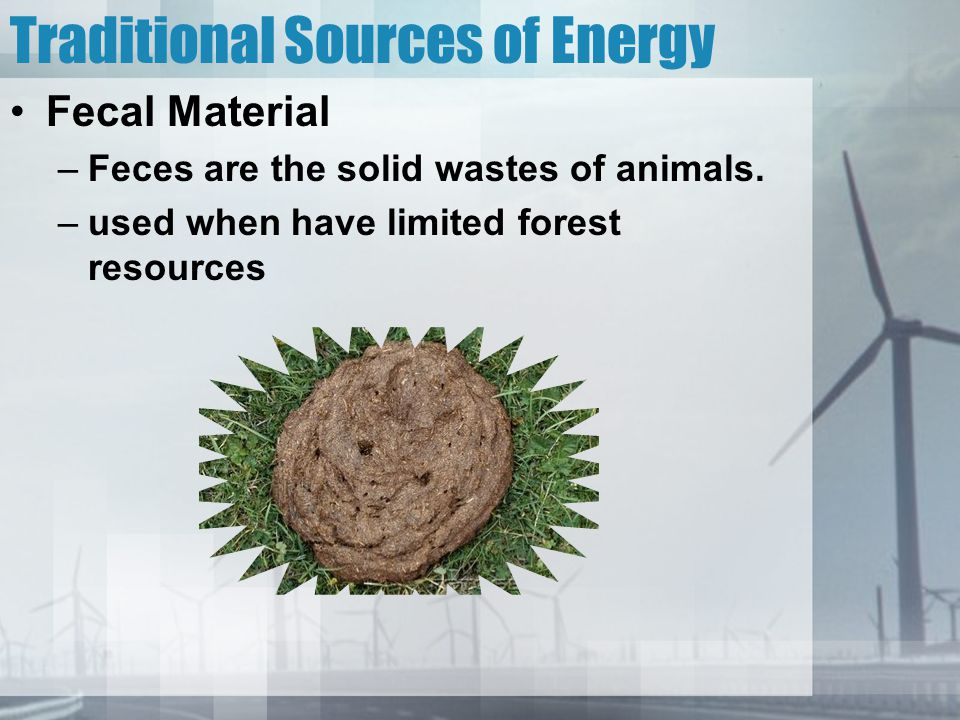 Traditional Sources of Energy Fecal Material –Feces are the solid wastes of animals. –used when have limited forest resources