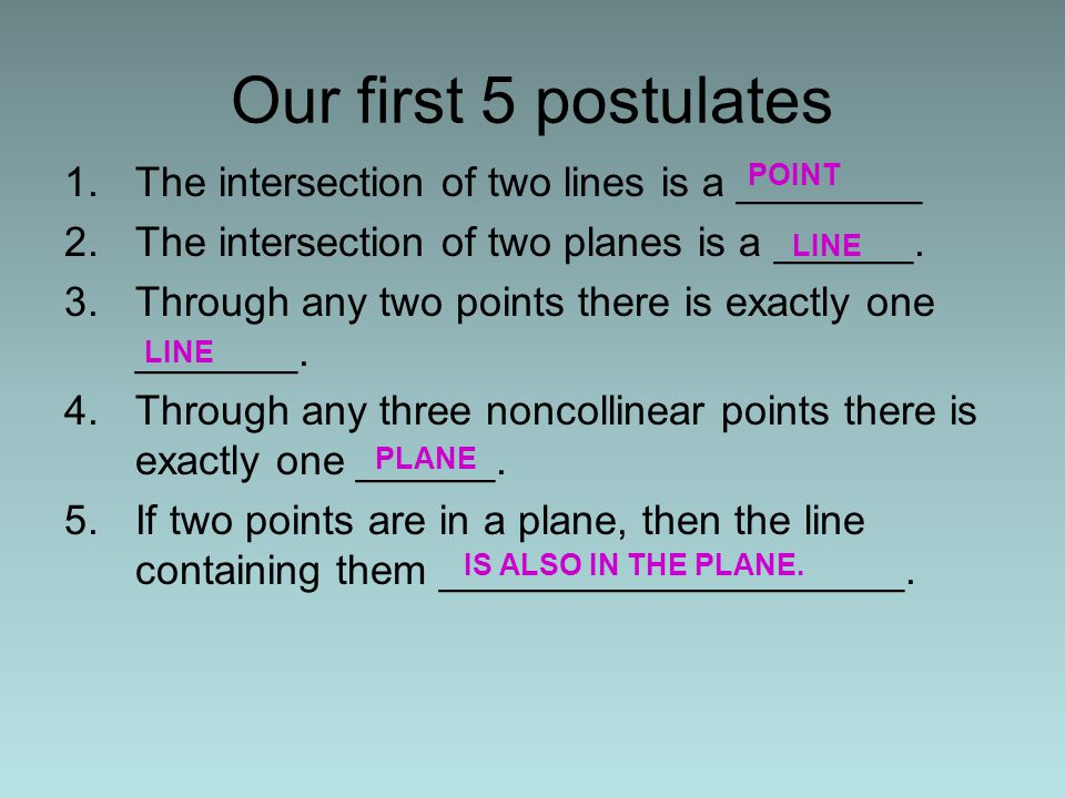 1.The intersection of two lines is a ________ 2.The intersection of two planes is a ______. 3.Through any two points there is exactly one _______. 4.T