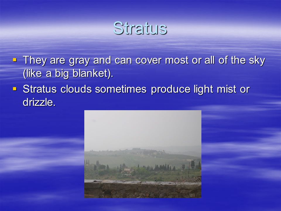 Stratus  They are gray and can cover most or all of the sky (like a big blanket).  Stratus clouds sometimes produce light mist or drizzle.