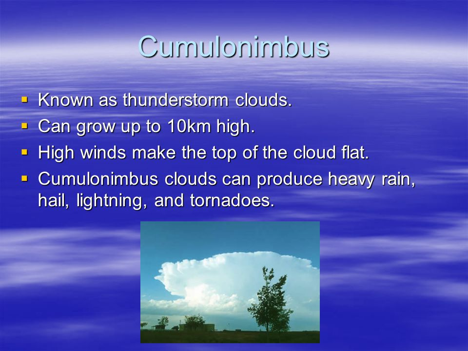 Cumulonimbus  Known as thunderstorm clouds.  Can grow up to 10km high.  High winds make the top of the cloud flat.  Cumulonimbus clouds can produc