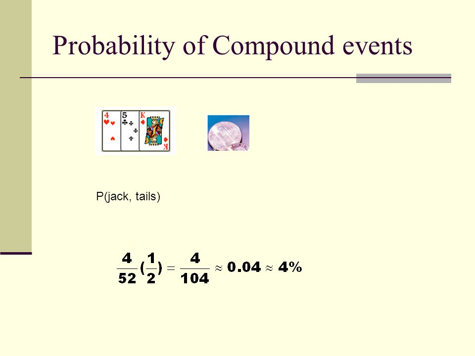 Probability of Compound events P(jack, tails)