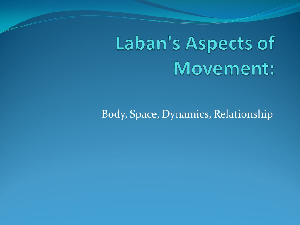 BODY ASPECT Definition: What is moving Includes elements of shape, types of movement, jumps, gestures