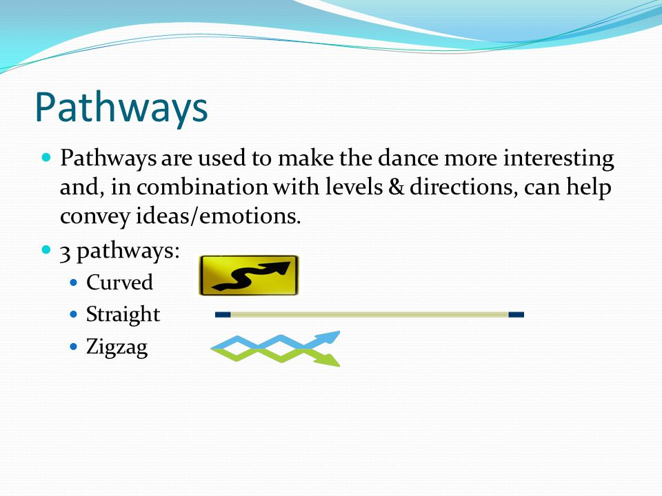 Pathways Pathways are used to make the dance more interesting and, in combination with levels & directions, can help convey ideas/emotions.