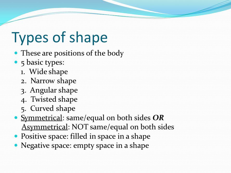 Shapes Wide Narrow Curved Angular Twisted Symmetrical Asymmetrical