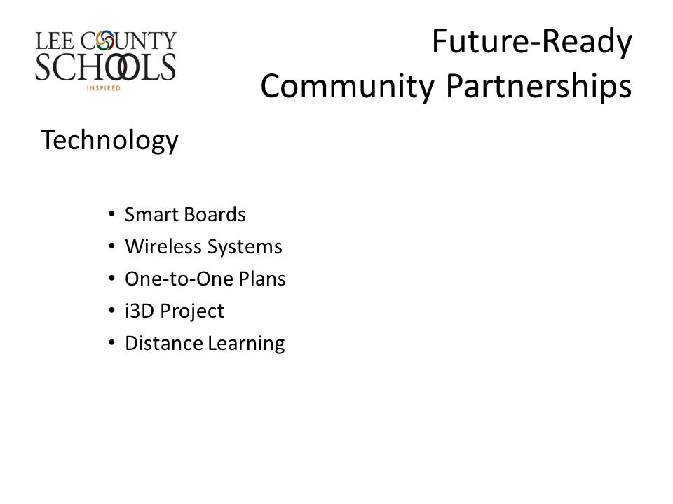 Future-Ready Community Partnerships Technology Smart Boards Wireless Systems One-to-One Plans i3D Project Distance Learning