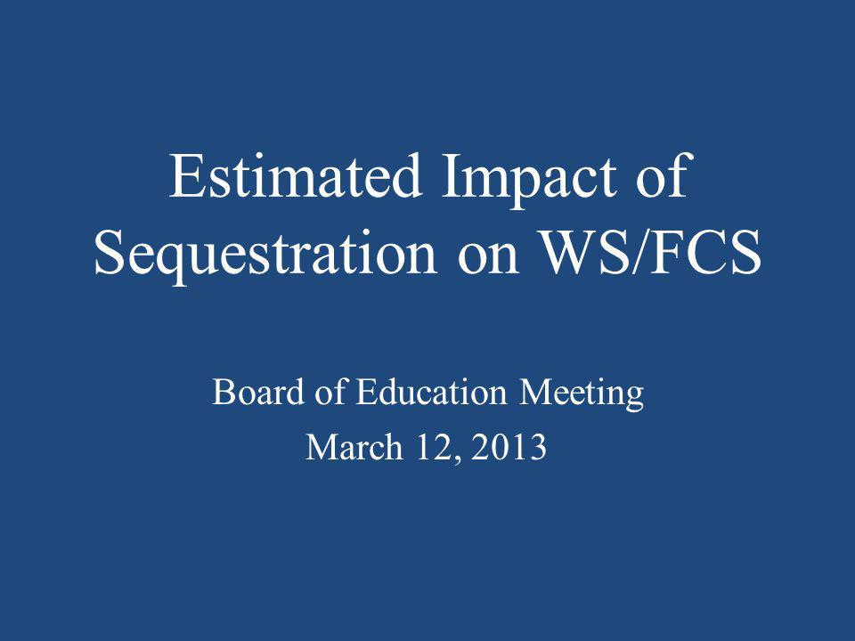 WSFCS Federal Allotments/Reductions FY 2013 FY 2014 AllotmentProjected Reductions Career/Technical Ed.