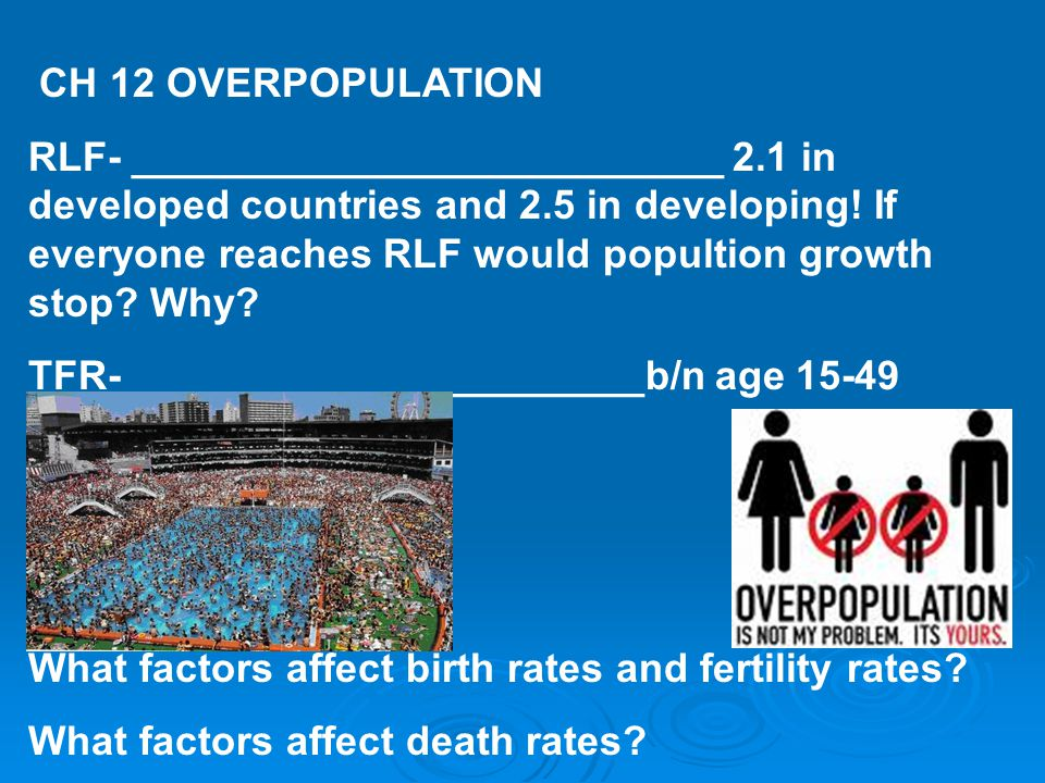 CH 12 OVERPOPULATION RLF- __________________________ 2.1 in developed countries and 2.5 in developing.