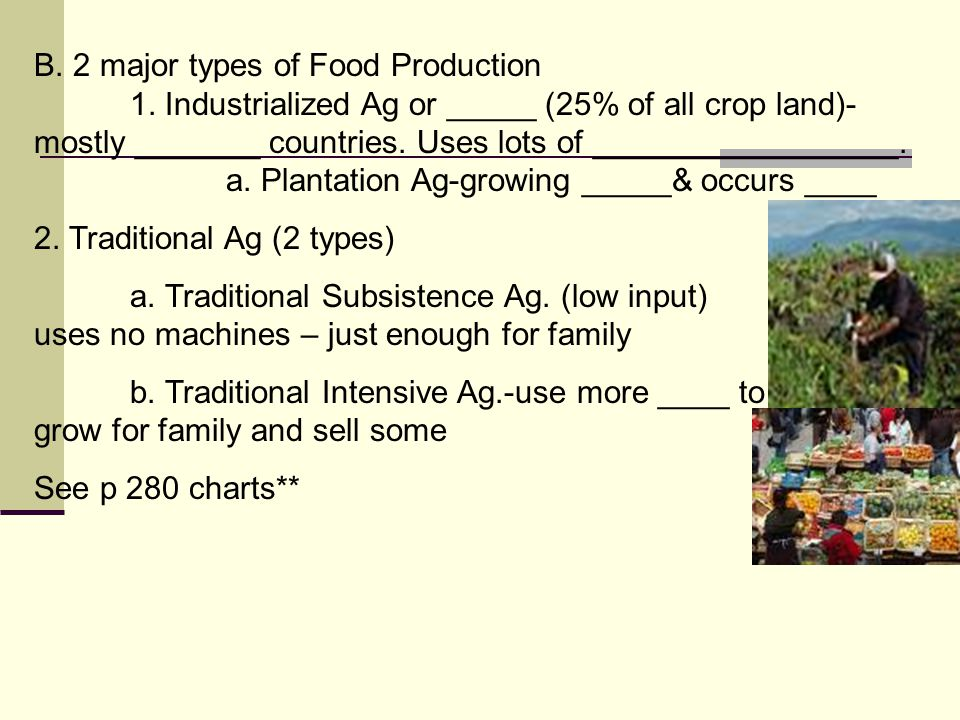 B. 2 major types of Food Production 1.