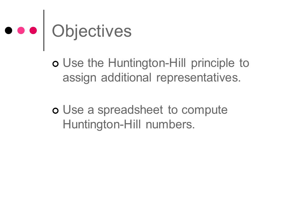 Objectives Use the Huntington-Hill principle to assign additional representatives.