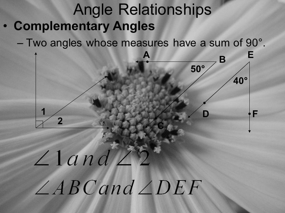 Angle Relationships Supplementary Angles –Two angles whose measures have a sum of 180°.