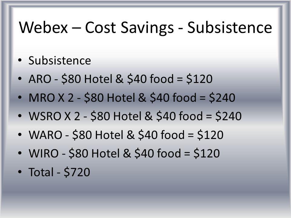 Webex – Cost Savings - Subsistence Subsistence ARO - $80 Hotel & $40 food = $120 MRO X 2 - $80 Hotel & $40 food = $240 WSRO X 2 - $80 Hotel & $40 food = $240 WARO - $80 Hotel & $40 food = $120 WIRO - $80 Hotel & $40 food = $120 Total - $720