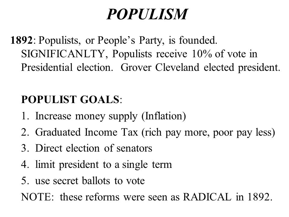 POPULISM 1892: Populists, or People's Party, is founded.