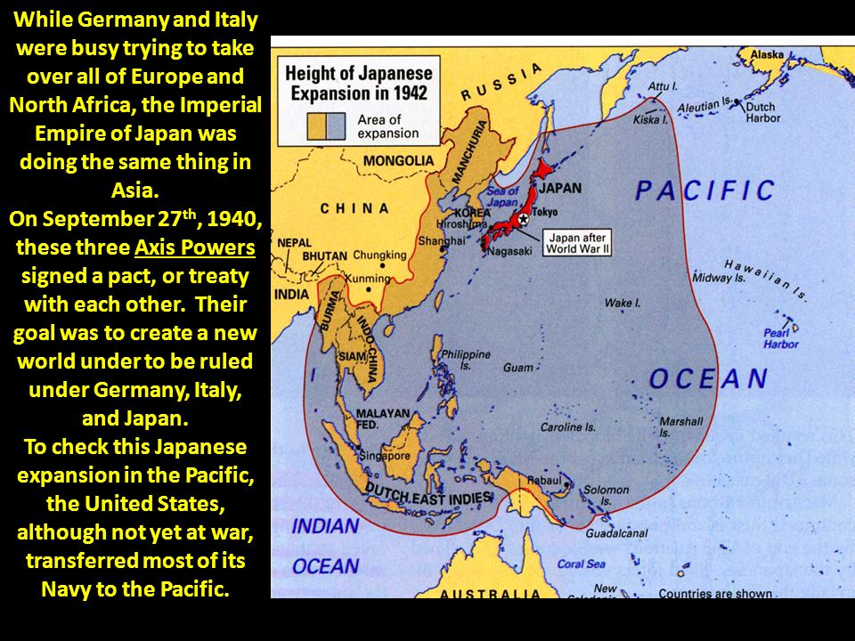 While Germany and Italy were busy trying to take over all of Europe and North Africa, the Imperial Empire of Japan was doing the same thing in Asia. O