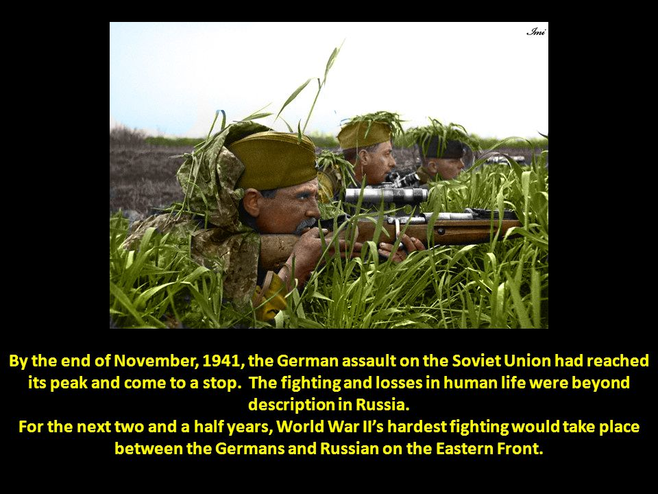 By the end of November, 1941, the German assault on the Soviet Union had reached its peak and come to a stop. The fighting and losses in human life we