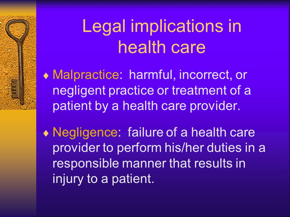Tort: wrongful act that does not involve a contract -causing harm or injury due to the healthcare worker not performing the standard of care. Grab bag