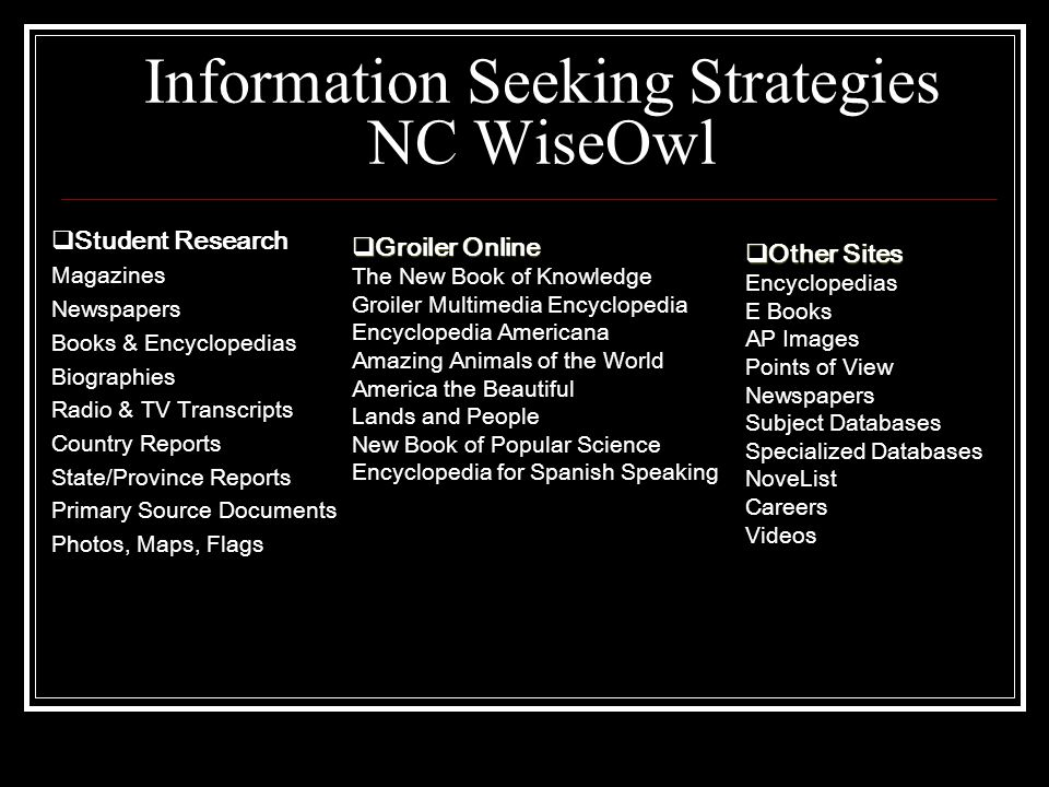 Information Seeking Strategies NC WiseOwl  Student Research Magazines Newspapers Books & Encyclopedias Biographies Radio & TV Transcripts Country Reports State/Province Reports Primary Source Documents Photos, Maps, Flags  Other Sites Encyclopedias E Books AP Images Points of View Newspapers Subject Databases Specialized Databases NoveList Careers Videos  Groiler Online The New Book of Knowledge Groiler Multimedia Encyclopedia Encyclopedia Americana Amazing Animals of the World America the Beautiful Lands and People New Book of Popular Science Encyclopedia for Spanish Speaking