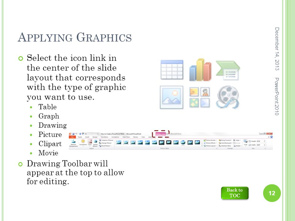 A PPLYING G RAPHICS December 14, 2013 PowerPoint 2010 12 Select the icon link in the center of the slide layout that corresponds with the type of graphic you want to use.