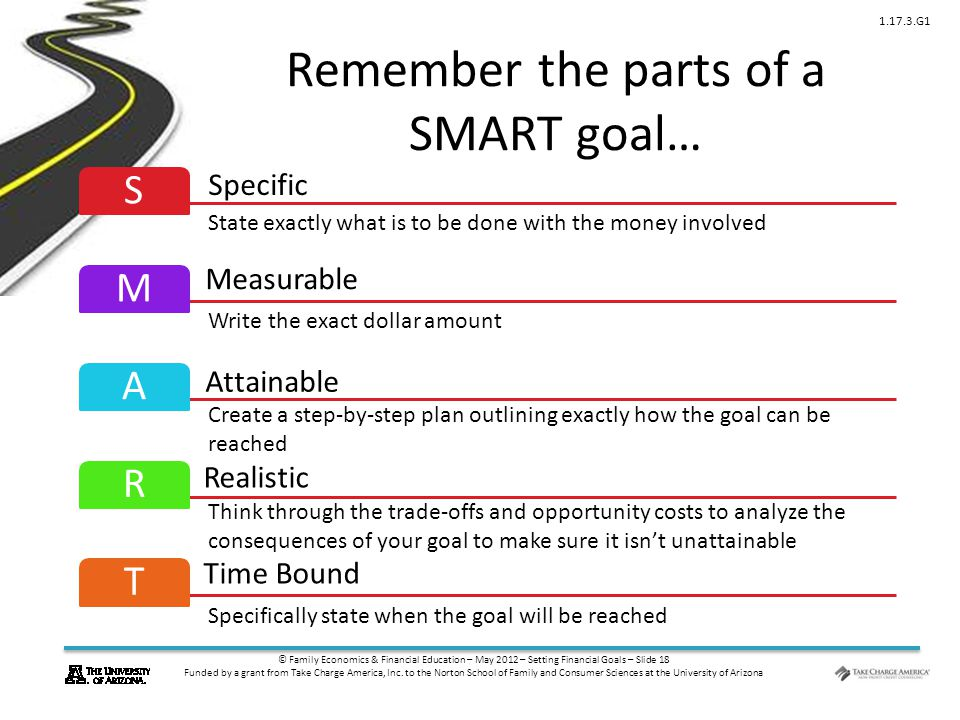 © Family Economics & Financial Education – May 2012 – Setting Financial Goals – Slide 18 Funded by a grant from Take Charge America, Inc.