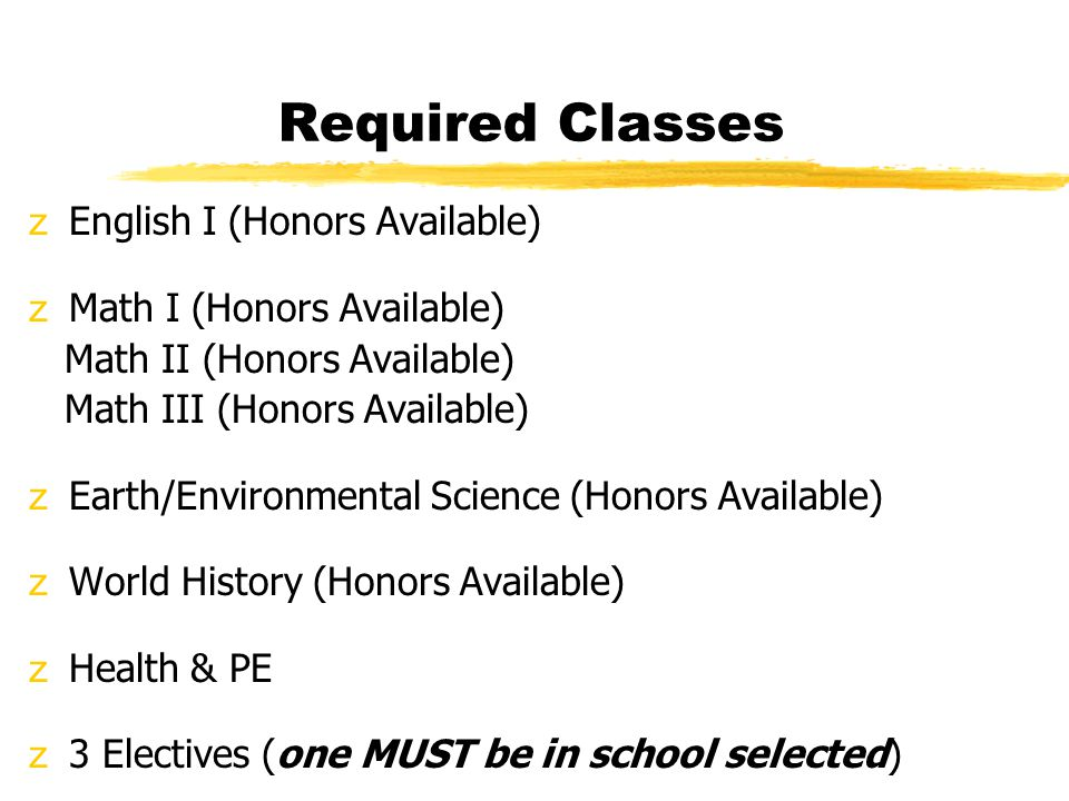 Required Classes zEnglish I (Honors Available) zMath I (Honors Available) Math II (Honors Available) Math III (Honors Available) zEarth/Environmental Science (Honors Available) zWorld History (Honors Available) zHealth & PE z3 Electives (one MUST be in school selected)