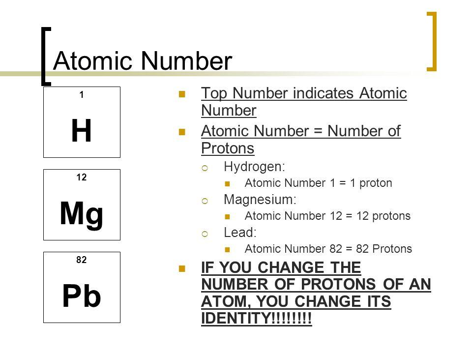 Atomic Number Top Number indicates Atomic Number Atomic Number = Number of Protons  Hydrogen: Atomic Number 1 = 1 proton  Magnesium: Atomic Number 1