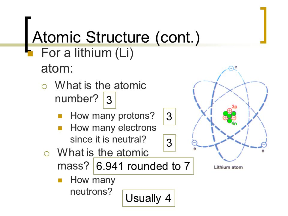 Atomic Structure (cont.) For a lithium (Li) atom:  What is the atomic number? How many protons? How many electrons since it is neutral?  What is the