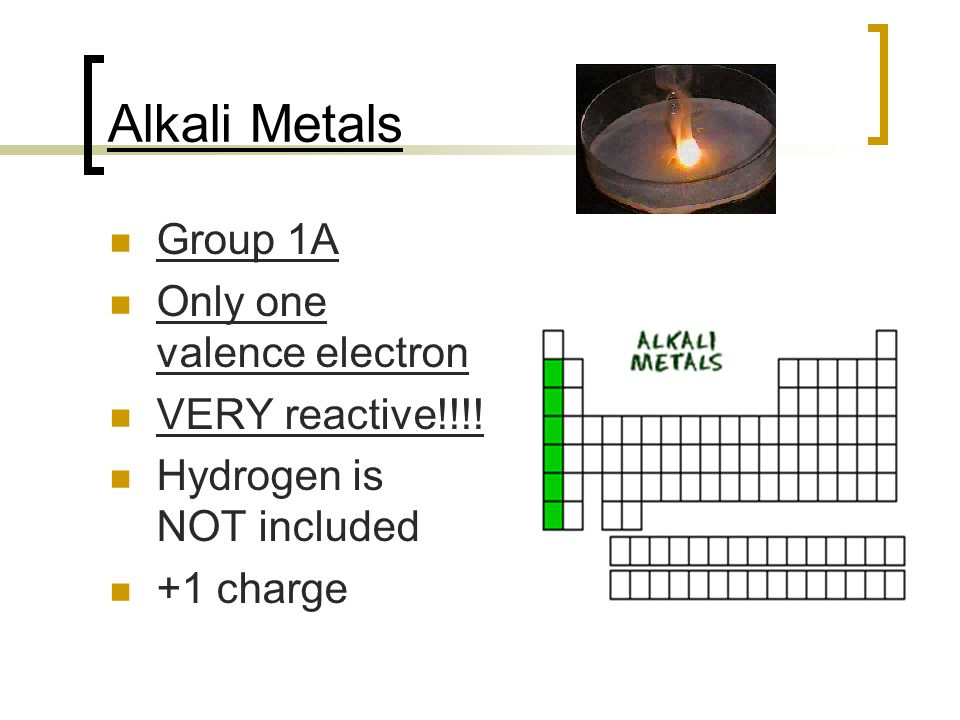 Alkali Metals Group 1A Only one valence electron VERY reactive!!!! Hydrogen is NOT included +1 charge