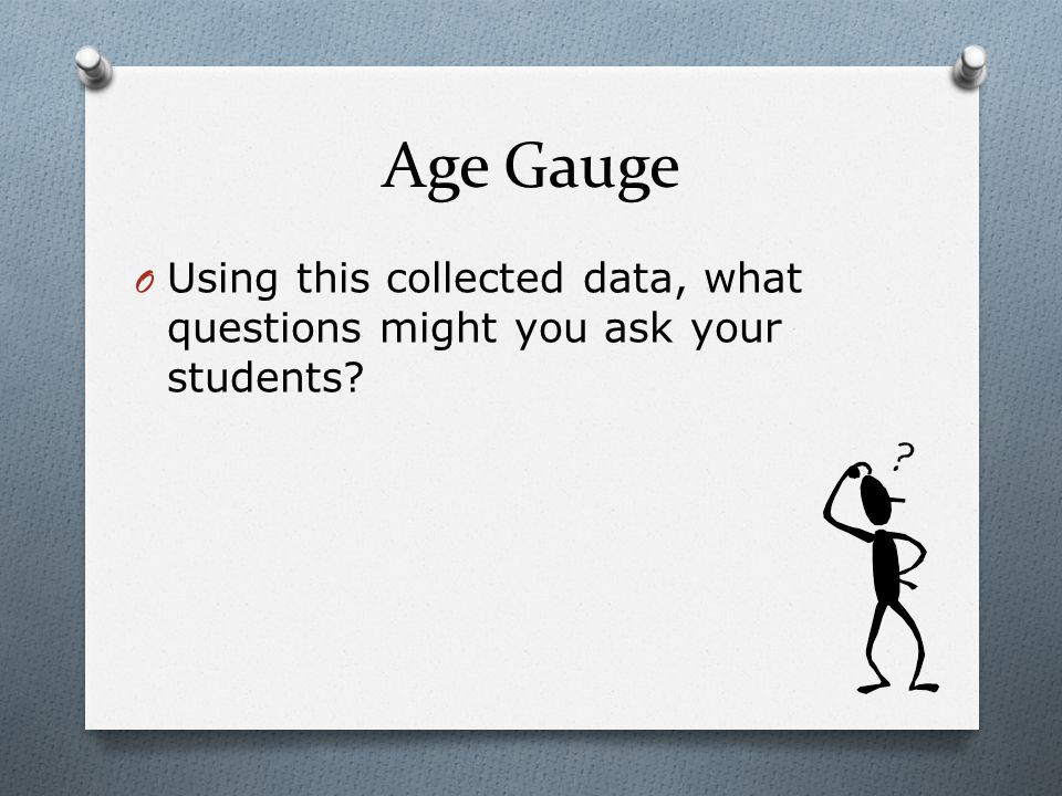 Age Gauge O Using this collected data, what questions might you ask your students?