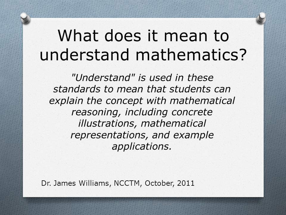 What does it mean to understand mathematics.