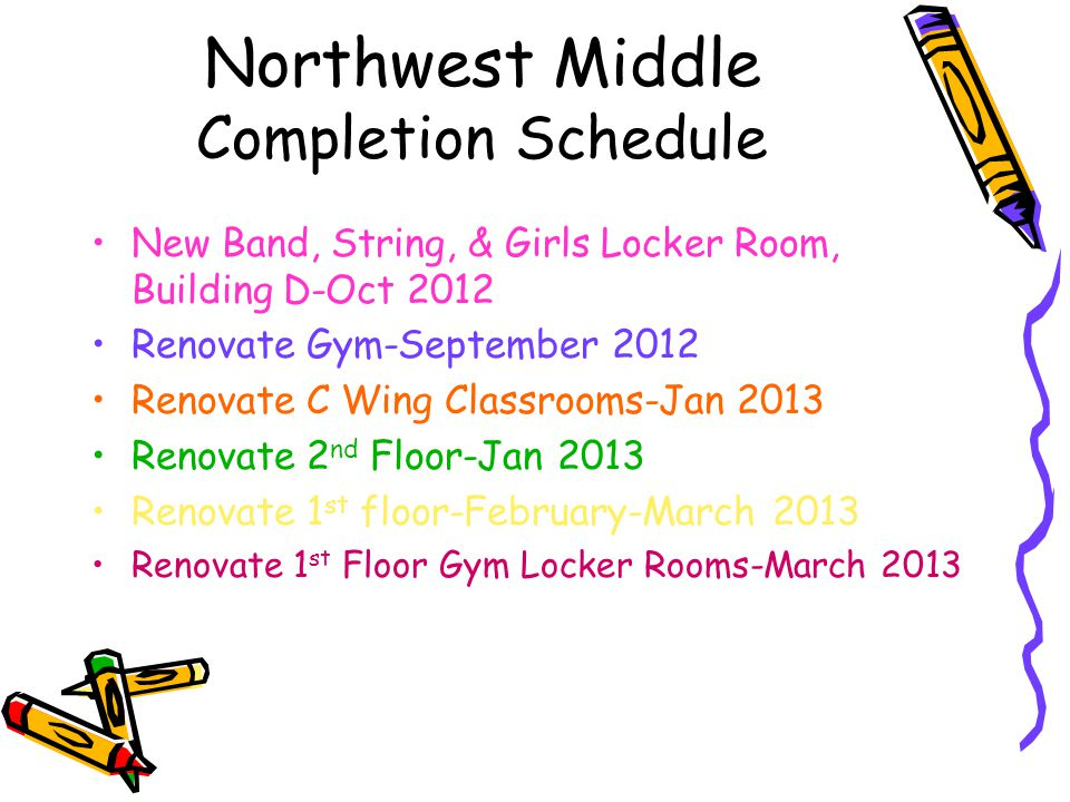 Northwest Middle Completion Schedule New Band, String, & Girls Locker Room, Building D-Oct 2012 Renovate Gym-September 2012 Renovate C Wing Classrooms-Jan 2013 Renovate 2 nd Floor-Jan 2013 Renovate 1 st floor-February-March 2013 Renovate 1 st Floor Gym Locker Rooms-March 2013