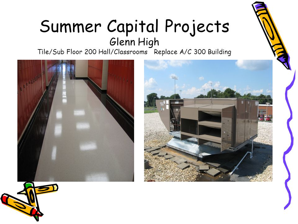 Summer Capital Projects Glenn High Tile/Sub Floor 200 Hall/Classrooms Replace A/C 300 Building