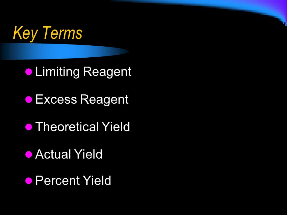 Key Terms Limiting Reagent Excess Reagent Theoretical Yield Actual Yield Percent Yield