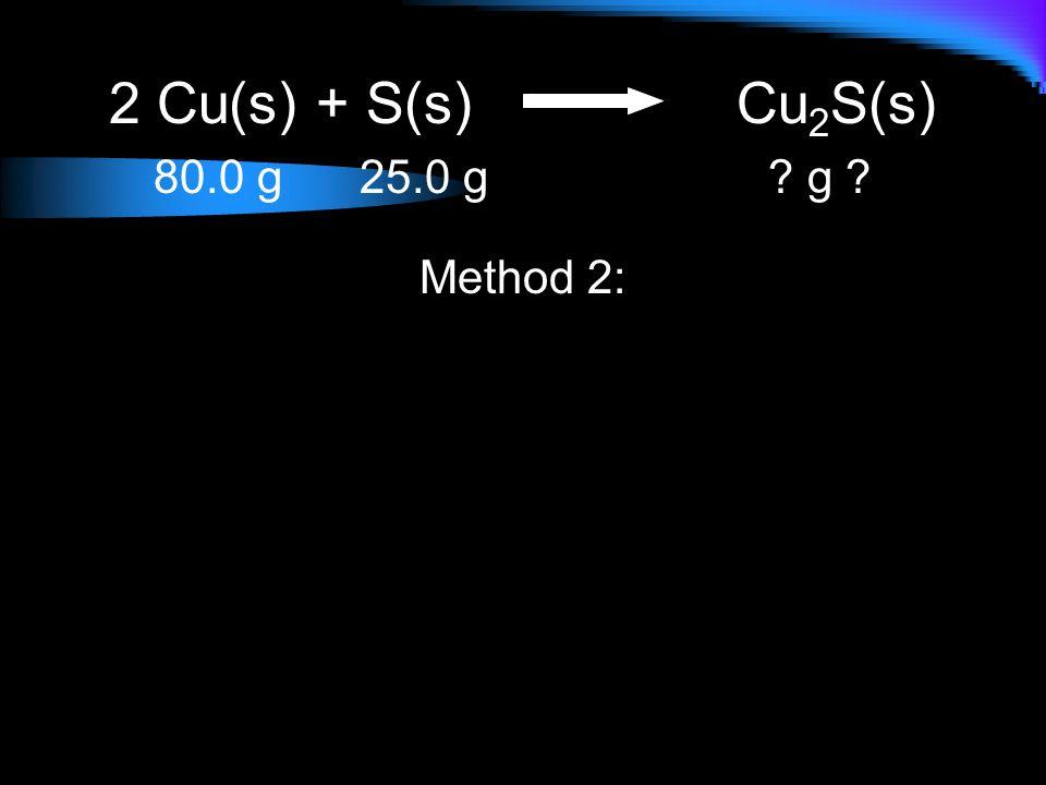 2 Cu(s) + S(s)Cu 2 S(s) 80.0 g 25.0 g ? g ? Method 2: