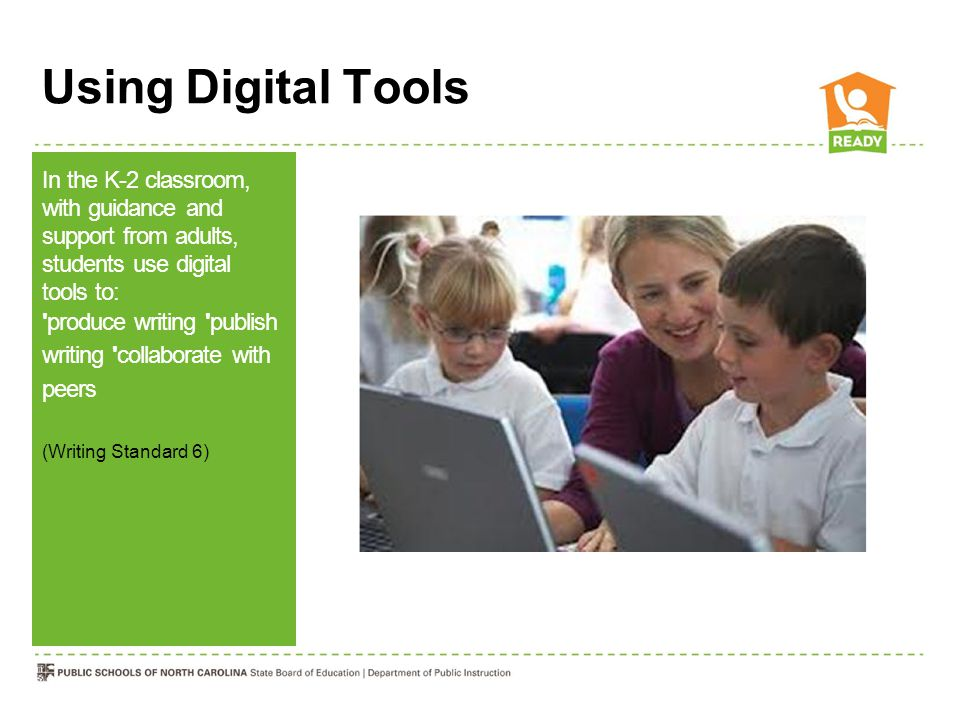 Using Digital Tools In the K-2 classroom, with guidance and support from adults, students use digital tools to: produce writing publish writing collaborate with peers (Writing Standard 6)