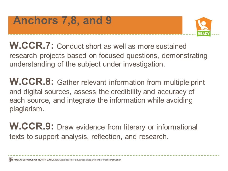 Anchors 7,8, and 9 W.CCR.7: Conduct short as well as more sustained research projects based on focused questions, demonstrating understanding of the subject under investigation.