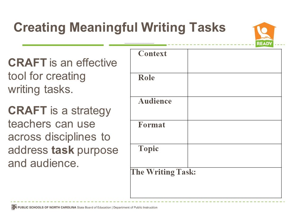 Creating Meaningful Writing Tasks CRAFT is an effective tool for creating writing tasks.