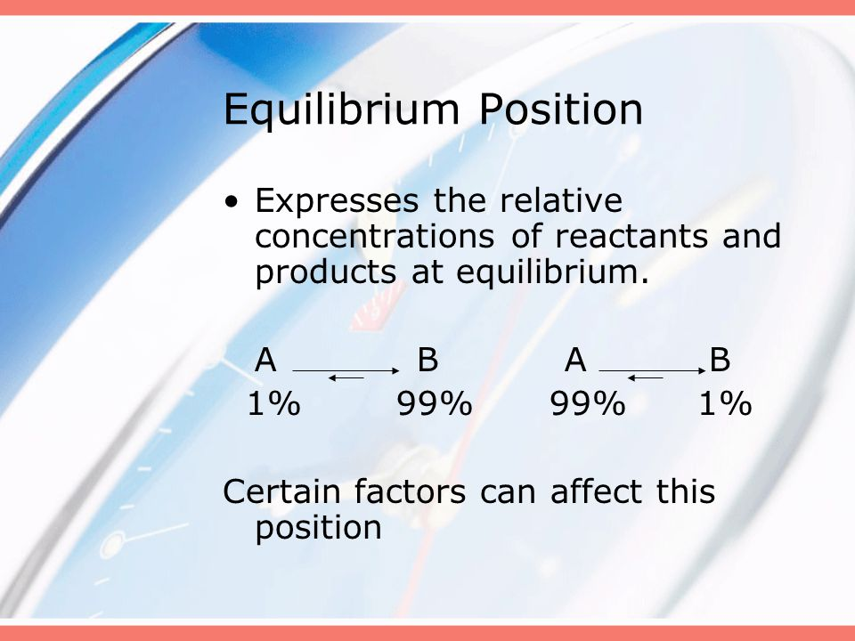 Equilibrium Position Expresses the relative concentrations of reactants and products at equilibrium.
