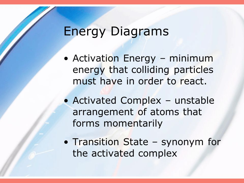 Activation Energy – minimum energy that colliding particles must have in order to react. Activated Complex – unstable arrangement of atoms that forms