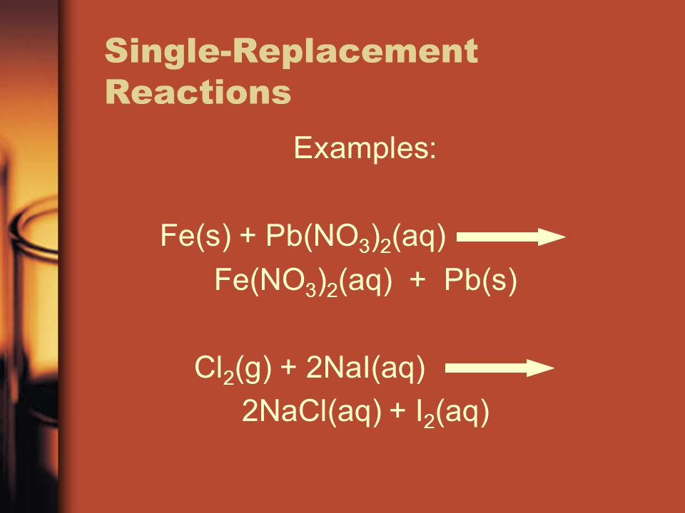 Single-Replacement Reactions Examples: Fe(s) + Pb(NO 3 ) 2 (aq) Fe(NO 3 ) 2 (aq) + Pb(s) Cl 2 (g) + 2NaI(aq) 2NaCl(aq) + I 2 (aq)