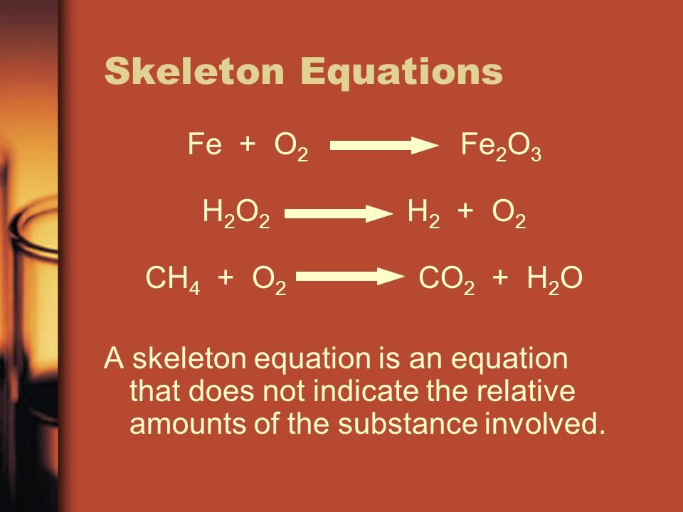 Skeleton Equations Fe + O 2 Fe 2 O 3 H 2 O 2 H 2 + O 2 CH 4 + O 2 CO 2 + H 2 O A skeleton equation is an equation that does not indicate the relative