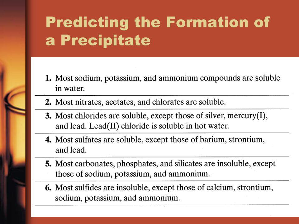 Predicting the Formation of a Precipitate
