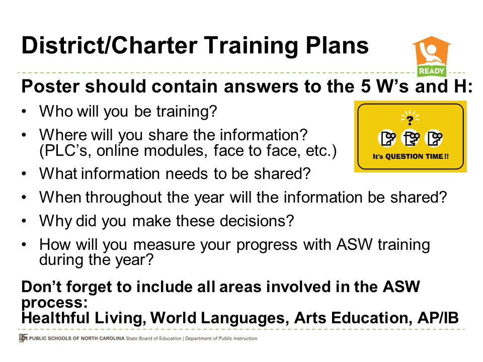 District/Charter Training Plans Poster should contain answers to the 5 W's and H: Who will you be training? Where will you share the information? (PLC
