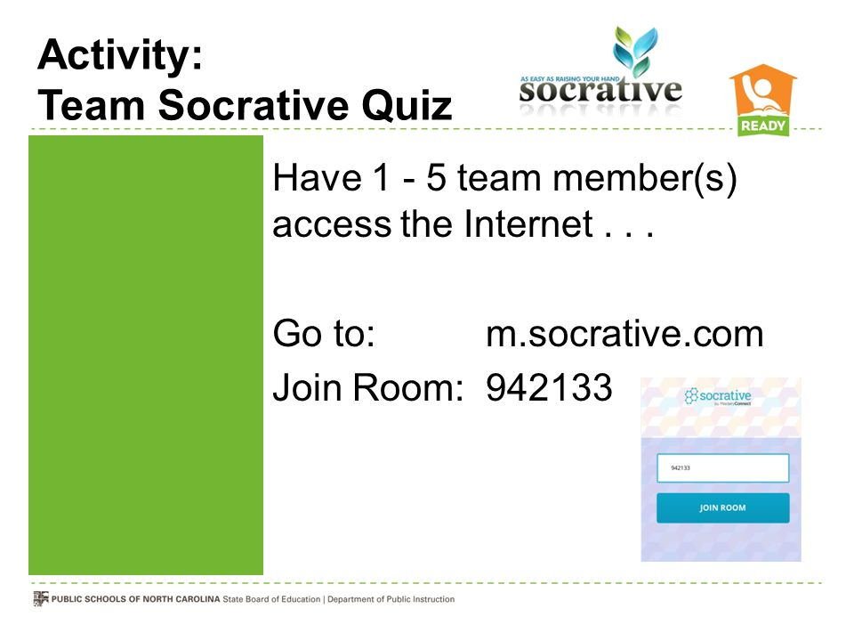 Activity: Team Socrative Quiz Have 1 - 5 team member(s) access the Internet... Go to:m.socrative.com Join Room: 942133